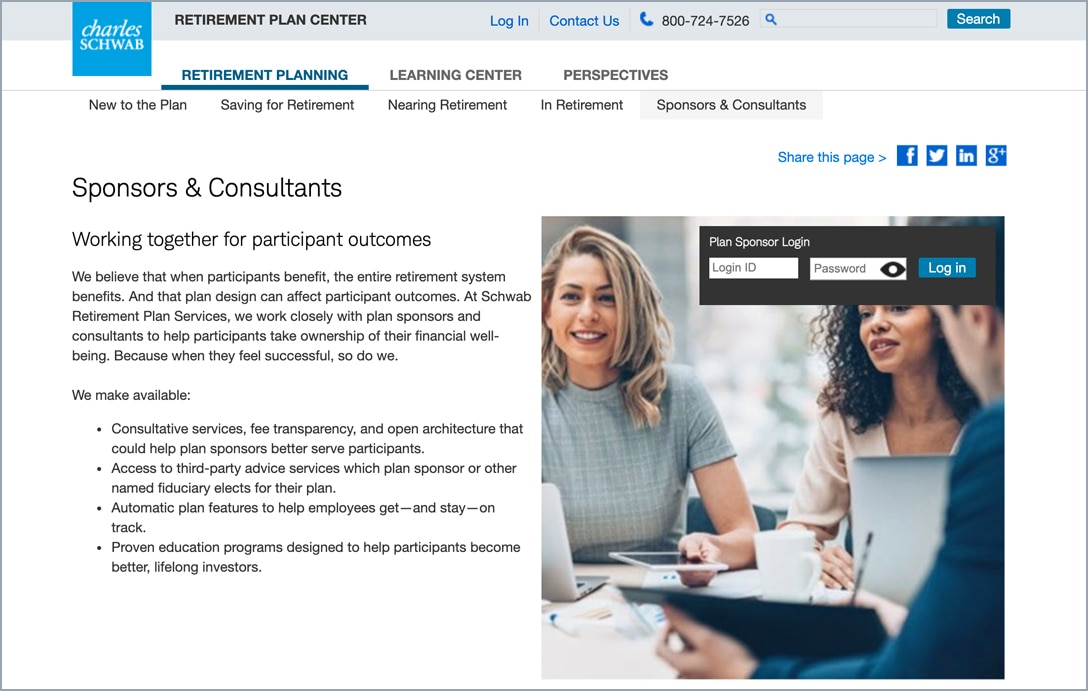 Retirement Plan Center Log in Page